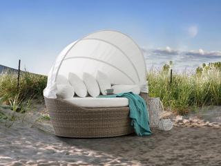 Solsäng med soltak i ljusbrun konstrotting - strandkorg - vilsäng - loungesäng - SYLT