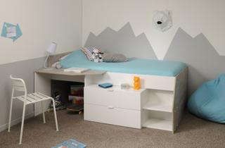 Milky halvhøy seng med skrivebord