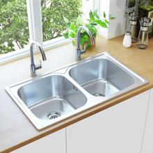 vidaXL dobbelt køkkenvask med strainer og vandlås rustfrit stål