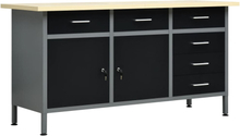 vidaXL Arbetsbänk svart 160x60x85 cm stål