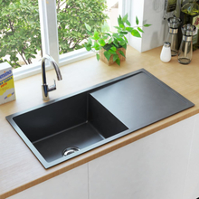 vidaXL håndlavet køkkenvask med strainer rustfrit stål sort