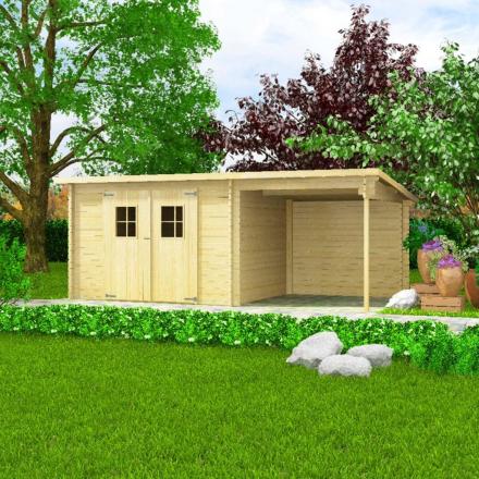 vidaXL bjælkehytte-haveskur massivt træ 28 mm 5,3 x 3 m