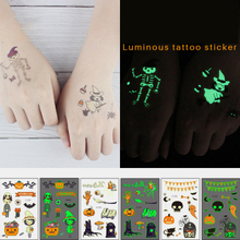 Halloween Luminous Tattoo Kinder Cartoon Aufkleber Body Art Wasserdicht Gefälschte Temporäre Tattoo Transferpapier