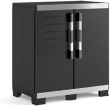 KETER XL lavt opbevaringsskab - 2 døre - hævede og justerbare fødder - aflåselig - sort