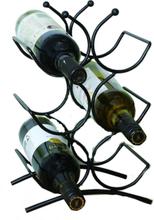 Vinställ för 6 flaskor svart metall