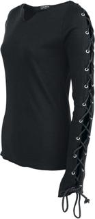Spiral - Lace Up Topp -Langermet skjorte for damer - svart