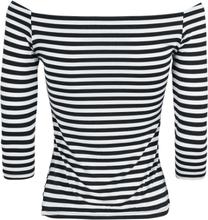 Dolly and Dotty - Gloria Off Shoulder Retro Striped Topp -Langermet skjorte - svart-hvit