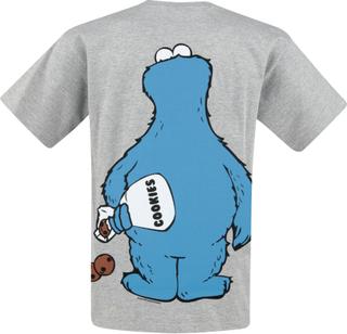 Sesam Stasjon - Krümelmonster - Cookie Thief -T-skjorte - gråmelert
