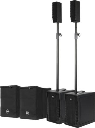 Pakke med 2 stk. RCF EVOX 5 aktivt høyttalersett og 2 bagger