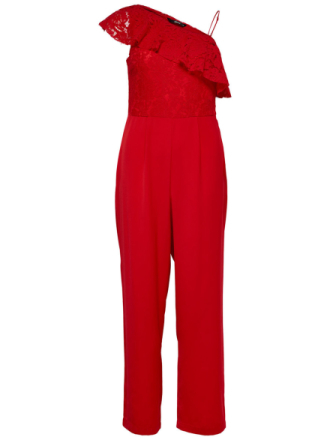 ONLY Lace Jumpsuit Women Red