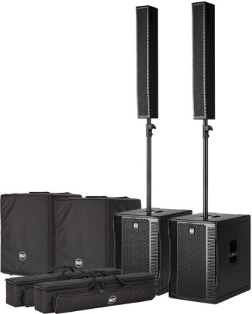 Pakke med 2 x RCF EVOX 12 aktivt høyttalersett og 2 bagger