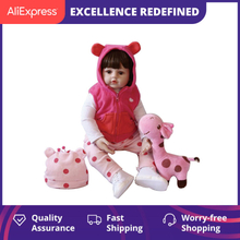Npk Original 47Cm Baby Doll Curly Hair Girl Reborn Toddler Soft Silicone With Cloth Body Realistic Doll Playing Toys For Kids