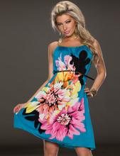 Multi Flowers Ladies Fashion Dress With Belt
