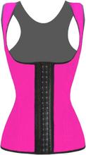 4 Steel Bones Latex Corset Vest Waist Cincher Body Shaper Rosa