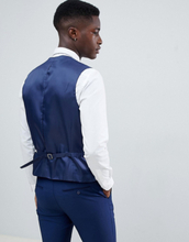 French Connection Slim Fit Wedding Double Breasted Scoop Waistcoat-Blue