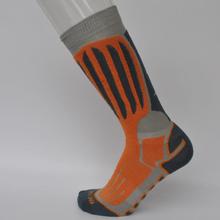 Skidstrumpor med merino ull - barnstorlek 31-34 orange/svart