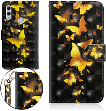Huawei P Smart 2019 light spot décor leather flip case - Gold Butterflies