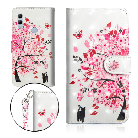 Huawei P Smart 2019 light spot décor leather flip case - Flowered Tree