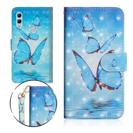 Huawei P Smart 2019 light spot décor leather flip case - Blue Butterfly