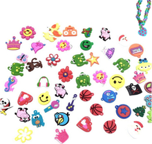 30pcs DIY Cartoon Colorful Animal Flower Beads Pendants Colorful Loom Rubber Band Bracelet Jewelry Making Beads Toy Random Style