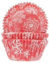Röda Muffinsformar 50st Snöflingor Stjärnor Jul Julmuffins - House of Marie
