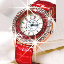Runer Women Rhinestone luxury Leather brand women Watches Hot fashion Women Dress Relogio Feminino free shipping