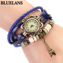 2018 New Beautiful Girl Lady Hot Vintage Women's Eiffel Tower Quartz Leather Bracelet Wrist Watch 1GOR 6T45 C2K5W