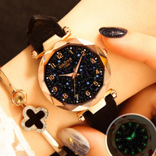 Luxury Starry Sky Watch For Women Fashion Ladies Quartz Wristwatch Red Leather Waterproof Clock relogio feminino zegarek damski