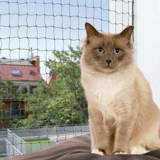 Sparesett: Trixie bitesikkert kattenett - oliven + Trixie monteringsstenger - Nett 8 x 3 m + 2 x monteringsstenger