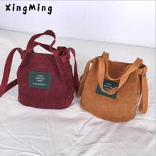 XINGMING 2019 Designer handbags high quality Women Bag Vintage Corduroy Shoulder Bags New Corduroy Bucket Shoulder Handbags