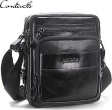CONTACT'S New Oil Wax Genuine Leather Men's Crossbody Bag Men's Small Shoulder Bags Casual Messenger Bag Top Quality Bolsos