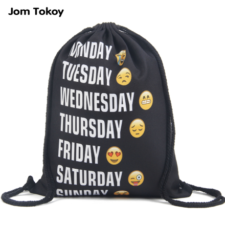 Jom tokoy New fashion Women Emoji Backpack 3D printing travel softback women mochila drawstring bag mens backpacks