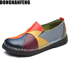 DONGNANFENG Women's Ladies Female Woman Shoes Flats Mother Shoes Cow Genuine Leather Loafers Ballerina Colorful Non Slip On Zapatillas Mujer Ballet Designer Mocassin Femme Slip-On Mixed Colors Plus size 35-42 OL-2098