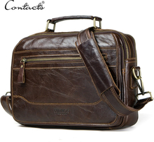 CONTACT'S new oil cow leather men's messenger bag male satchel bag men crossbody bags masculina bolso big casual shoulder bags