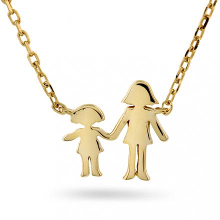 Familiesmykke mor og datter i forgylt sølv
