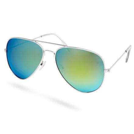 Kulta & sininen polarisoidut Aviator-aurinkolasit