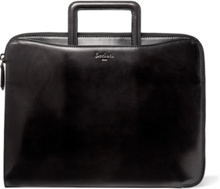 Leather Zip-around Portfolio - Black