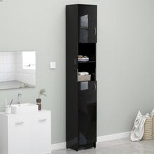 Badeværelsesskab 32x25,5x190 cm spånplade sort højglans