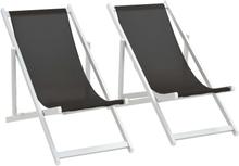 vidaXL Hopfällbara strandstolar 2 st aluminium och textilen svart