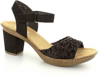 Rieker højhælet sandal, (Sort)