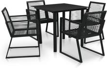 vidaXL udendørs spisebordssæt 5 dele PVC-rattan sort