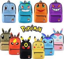 Pokemon Pikachu Haunter Eevee Bulbasaur Canvas Backpack Students Shoulders Bag Pocket Pokemon Go Haunter Schoolbags Laptop Bags