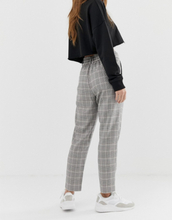 Only Petite check trouser with tie waist-Grey