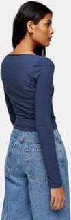 Topshop - Marineblå top med lange ærmer og rynket front