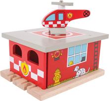 Brandstation til din togbane i træ - BRIO kampatibel