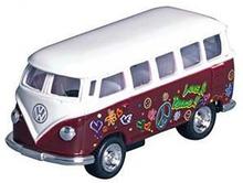 Brun VW Bus med Peace Print - Størrelse 1:64