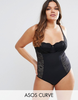 ASOS CURVE SHAPEWEAR New Improved Fit Wear Your Own Bra Lace Body - Black