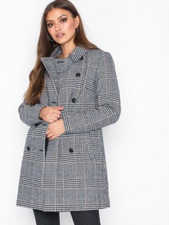 Only onlLINNEA Long Check Coat Otw