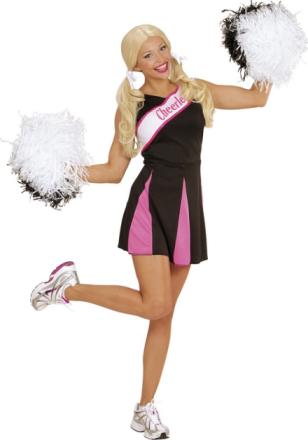 Sort og lyserødt kostume cheerleader voksen Small - Vegaoo.dk