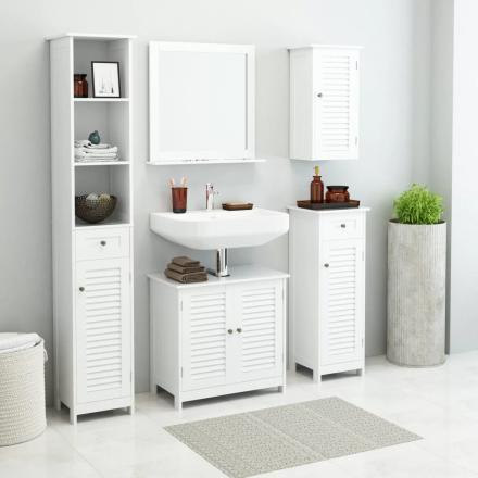 vidaXL møbelsæt til badeværelset i 5 dele hvid